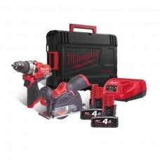 Milwaukee M12 FPP2F-402X Набор аккумуляторного инструмента M12FPD, M12 FCOT, M12B4х2шт, C12C, HD-Box