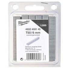 Milwaukee Скобы для степлера T50/6мм (1200шт) 4932459145