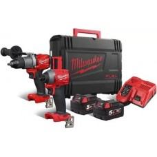 Milwaukee M18 FPP2A2-502X Набор аккумуляторного инструмента: M18FPD2, M18FID2, M18B5х2шт, M12-18FC, кейс HD 1