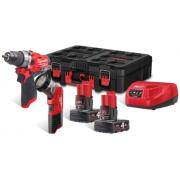 Milwaukee M12 FPP2AW-422P Набор аккумуляторного инструмента M12FPD; M12TLED; M12B4; M12B4; C12C; Pack-Out Box